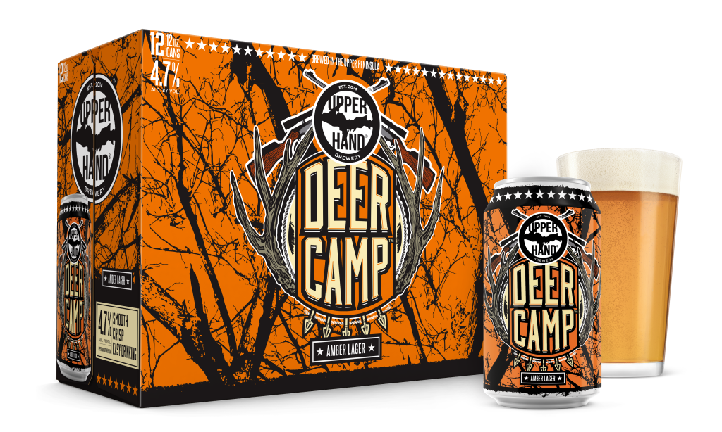 Deer Camp Amber Lager 12-pack, single can, and pint glass