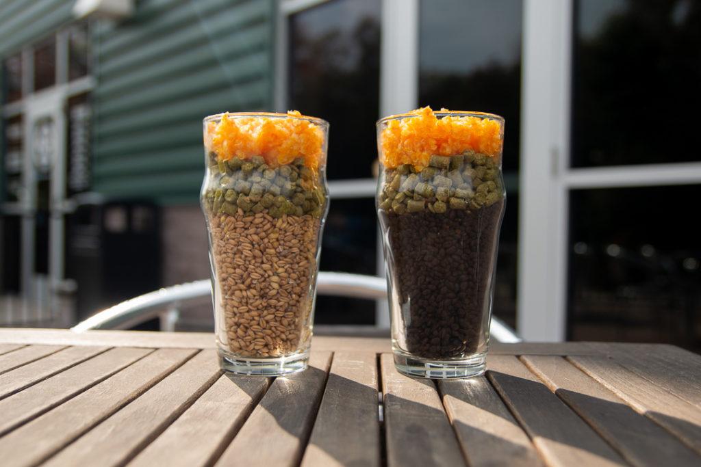 Pint Glasses filled with Hops Barley and Orange Zest