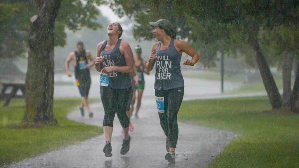 Two Runners in the Rain